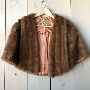Vintage Mink Fur Stole Cape Caplet with Pockets!!